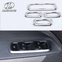 interior trim - For Ford Fiesta Ecosport MK7 Windows lift switch sticker interior door button chrome trim decoration accessories