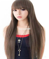 Wholesale Cool2day Cute Brown Long Straight Wig Kanekalon Full Wigs Model JF010011