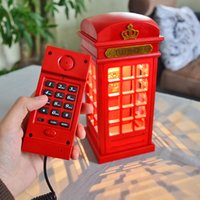 Wholesale Pieces Retro Style Booth Shape Telephone LED Telephone Booth Shape Home Corded Phone with Table Lamp