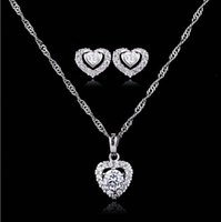 Wholesale Wedding Bridal zircon Earring Necklace Jewelry Set heart style Crystal Rhinestone Wedding Accessories Bridal Jewelry Set