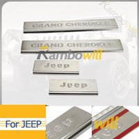 Wholesale 4pcs Car Door Sill Protectors Scuff Plates Guards Trim Silver Fit For Jeep Grand Cherokee Door Stainless Steel Auto Interior