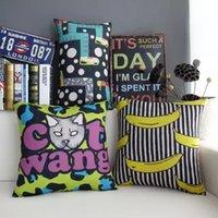 Cheap Cat Cushion Cover Set 2 sizes Graffiti Waist Pillow Case Cartoon Banana Decoration for Home Car Office Gift