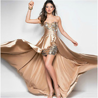 high low prom dresses - Sexy Sweetheart Sequins High low Cascade Satin Prom Dresses