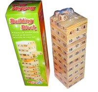 Wholesale Hot New Arrival Children Jenga Wood Stacked Bricks Bricks Table Game toys new educational wooden Building blocks digital dice toys
