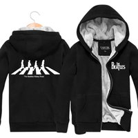 beatles sweatshirt hoodie - HOT SELL THE BEATLES Band Winter Sports Coats Slim Mens Hoodies And Sweatshirts Cardigan Thickening Plus Velvet Jacket