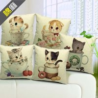 cotton linen sofa cover - Cushion cover quot little cute cat in floral teacup quot pillow case linen cotton pillows CATS SERIES sofa cover car cushion case x45cm SET