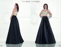 apple vanilla - Beaded Long Elegant Evening Dresses Black Vanilla Satin A Line Party Gowns KR High Neck Sleeveless Formal Wear Tarik Ediz