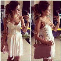 Cheap Women Summer vestidos Lady Lace Chiffon Dress V-Neck Button Sling Strap Splicing Mini Vest Casual Party Dress 29