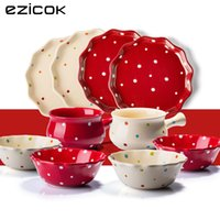 Wholesale Fresh ezicok polka dot ceramic dinnerware gift set dinnerware set