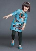 european clothing - Girls Clothes Dresses European Mother And Daughter Family Clothing Big Girl Blue Owl Animal Print Sleeve Dress Women Clothing I3567