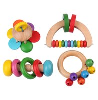 Wholesale New Hot Kid Baby Wooden Bell Rattle Toy Handbell Musical Educational Instrument Toddlers