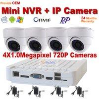 Kit Kit Kit 720P 1.0MP CCTV H.264 ONVIF IR Cámara IP Seguridad para el Hogar sistema de cámara de 4 canales NVR Video Vigilancia Sistema Mini NVR