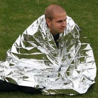 Wholesale 100 silvery silver Mylar Waterproof Emergency Rescue Space Foil Thermal Blanket
