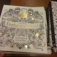 Wholesale 2015 Enchanted Forest An Inky Quest and Coloring Book An Inky Treasure Hunt and Coloring Book Adult Children Relax Graffiti Painting Book