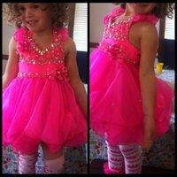 short pageant dresses for girls - Cheap Lovely Halter Beaded Cupcake Fuchsia Short Pageant Dresses for Girls