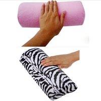 Wholesale Pro Salon Nail Art Cushion Pillow Zebra Stripe Pink Arm Hand Rest Care Soft Manicure Equipment Tool Half Column