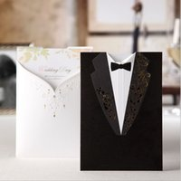 Wholesale 2016 Fashion Wedding Invitations Black Suits style Golden Embroidery White letters Invitation Cards for Birthday Party Cards CPA560