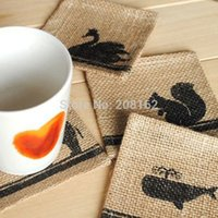 bamboo placemats - New Linen Waterproof Cup Mat Placemats Mini Fabric Doilies Coasters