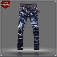 overalls for men - print color New arrival men jeans Painted Jeans Print pp men denim overalls for men