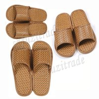 bamboo flip flops - New Summer Woman Men Sandals Summer Slippers Shoes Fashion Retro Knit Bamboo Slippers Size AIA00364