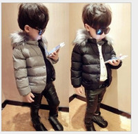 Wholesale Retail Baby Boys Short Down Jackets Fur Collar Coats Children Winter Warm Thickening Outwear Kids Clothing Fashion Boy Down Coat CM