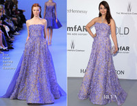 aishwarya rai - Aishwarya Rai in Zuhair Murad Red Carpet Celebrity Dresses With Purple Applique On Nude Underwear Strapless Long Evening Prom Gowns Sexy