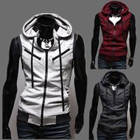 Wholesale 2015 Men s Sleeveless Hoodies Vest Coat Fashion Cotton Waistcoat Cardigan Hooded Knitting Vest Size M L XL XXL XXXL