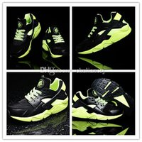 beautiful fish bowls - High quality Beautiful couple shoes Air Huarache Running Shoe Breathable Huaraches Black Fluorescent GreenTrainers Eur Size