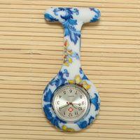 Wholesale Newest Silicone Colorful Prints Medical Nurse Watch Patterns Fob Quartz Watch Soft band brooch Nurse Watch patterns LB56