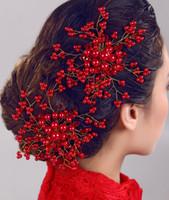Wholesale 2015 Fashion New Handmade Crystal Pearl Bridal Headdress Head Flower Hair Ornaments Korean Pearl Comb Wedding Frontlet