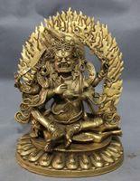 buddha statues - 9 inch Tibet Brass Buddhism Vajra Arms Mahakala Buddha Joss Jambhala Statue