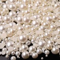 al por mayor 5mm ovalada-Wholesale-1000pcs Mixto Tamaño de Marfil 2 mm, 3 mm, 4 mm, 5 mm, 6 mm, 7 mm, 8 mm, 9 mm, 10 mm redondo de Flatback de granos de la perla de acrílico La mitad de uñas Decoración Arte Teléfono