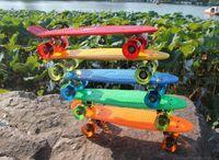 Wholesale New Arrival Tie Dye Inch Plastic Mini Cruiser Skateboard Old School Long Board Banana Retro Skate Longboard Penny Board
