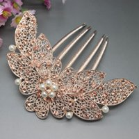 Wholesale fork necklace New Fashion Hair Accessory Jewelry For Women Gold Plated Crystal Flower Pearl Hair Combs Tuck Comb Hair Fork For Bridal XL362