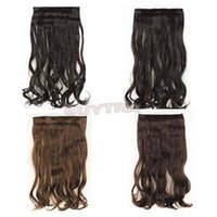 Wholesale 2014 New High Quality Full Head Clip In Extensions Curly Wave Synthetic Hair Extensions