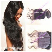 Cheap Best Brazilian Silk Base Closure 8A Human Hair Brazilian Body Wave Silk Base Closure Bleached Knots Cheap Silk Base Closure