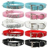 Wholesale Gator Skin Customized Leather Dog Collars Personalized Pet Collar For mm Letters and Charm