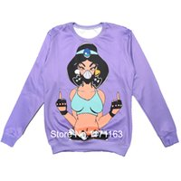 Cheap 2014 New Fashion Men Women Sweatshirt Sexy Kunoichi & Fucking Middle Finger Harajuku 3D Print Novelty Pullover Purple Hoodies