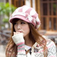 Wholesale 2015 YUXI Stripe Knitting Winter Hat Knitted Hat Stripe Design Female Caps Sombrero Kids Hats Viseras Fur Caps