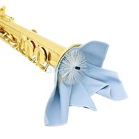 Wholesale Saxophone Sax Cleaning Tool Pull Through Wiping Cloth Brush Blue