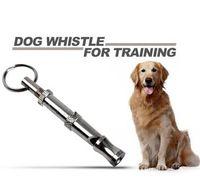 adjustable dog whistle - Pet Dog Training Adjustable Ultrasonic Sound Metal Whistle Keychain Pitch Silver