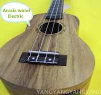 acoustic plug - Soprano Acoustic Electric Acacia wood Ukulele Inch Guitar Strings Ukelele Guitarra Handcraft White Guitarist Plug in Uke