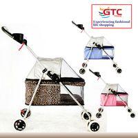 dog stroller - Portable Pet Trolley Pet Carrier Seat Dog Stroller Puppy Outdoor Walk Pusher