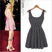 Wholesale Fashion female star polka dot racerback sleeveless vest slim one piece dress