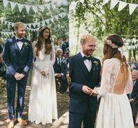 Wholesale Vintage Lace Wedding Dresses A Line High Neck Long Sleeves Backless Bridal Gown Plus Size White Wedding Bohemia Dresses
