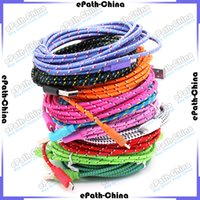 Wholesale 3M FT Colorful Fabric Braided Data Sync Wire USB Charger Cable Cloth Woven Charging Cord For Mobile Phone Smartphone