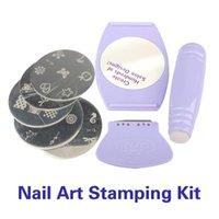 Cheap Free Shipping Professional Nail Art Stamp Stamping Polish Nail DIY Design Kit Decoration Salon Express Purple