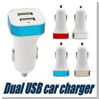 apple ipad adaptors - For iPhone Output V A A Double USB Car Charger universal dual usb Contrast Color Adaptor For iPad iPhone Samgung without package