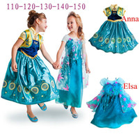 Wholesale Frozen Dress Elsa Anna Movie Cosplay Costumes Baby Girl Flower Princess Dress Frozen Fever Children Anna Elsa Dress in stock