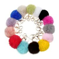 ball earrings yellow - Soft Rabbit Fur Ball Key Chains Ball Pom Poms Plush Keychain Car Keyring Bag Earrings hang decorations
